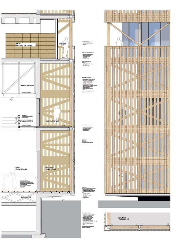 Wood Pattern Elevation : Facade detail sec elevation… samples for
