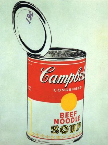 1962 Big Campbell S Soup Can 19c Beef Noodle Andy Warhol Net Zoals Bij Fairfield Porter S Aristocratische Inti Andy Warhol Warhol Campbell S Soup Cans