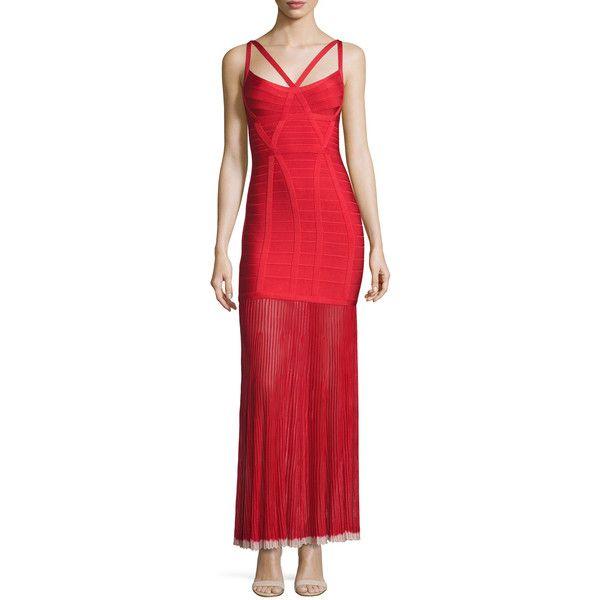 f1187fc809 Herve Leger Sleeveless Bandage Gown w Chiffon Skirt (7