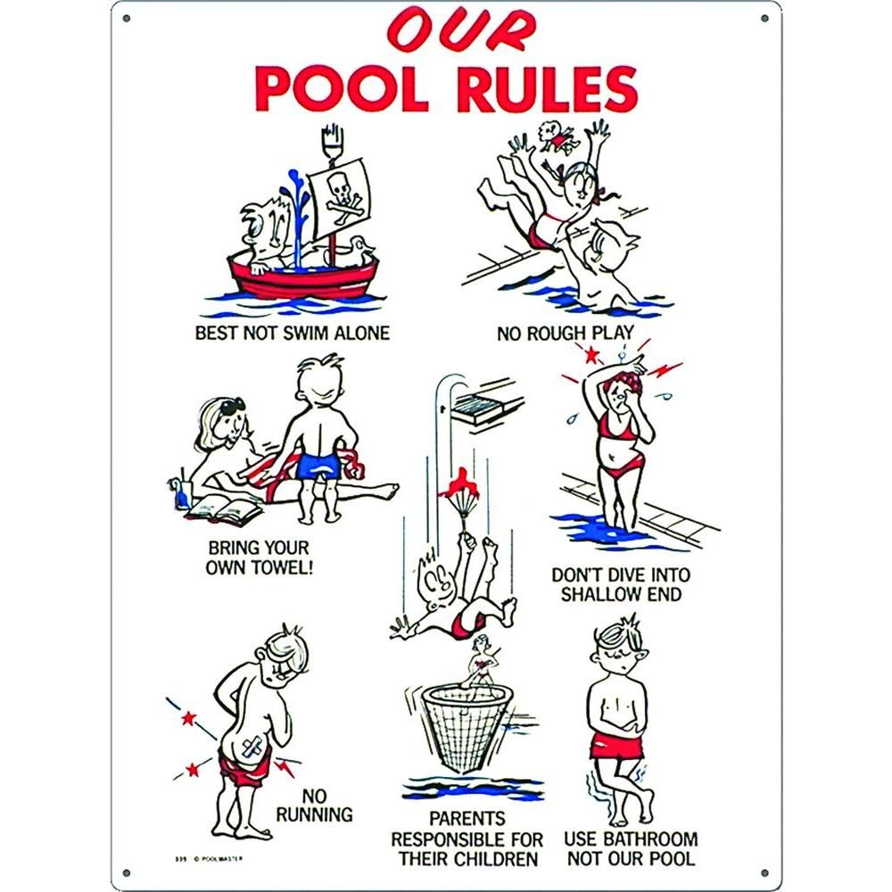 Poolmaster Our Pool Rules Swimming Pool Sign Kid Animation 41335 The Home Depot Pool Rules Sign Pool Rules Pool Signs