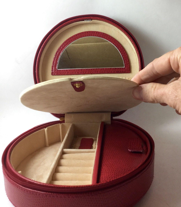 Red Leather Jewelry Box Travel Jewelry Case Wolf Designs Jewelry