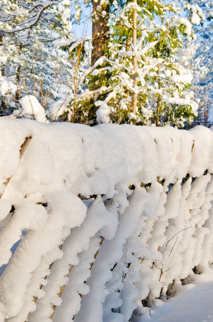 Wooden Fence Covered Snow Stock Picture