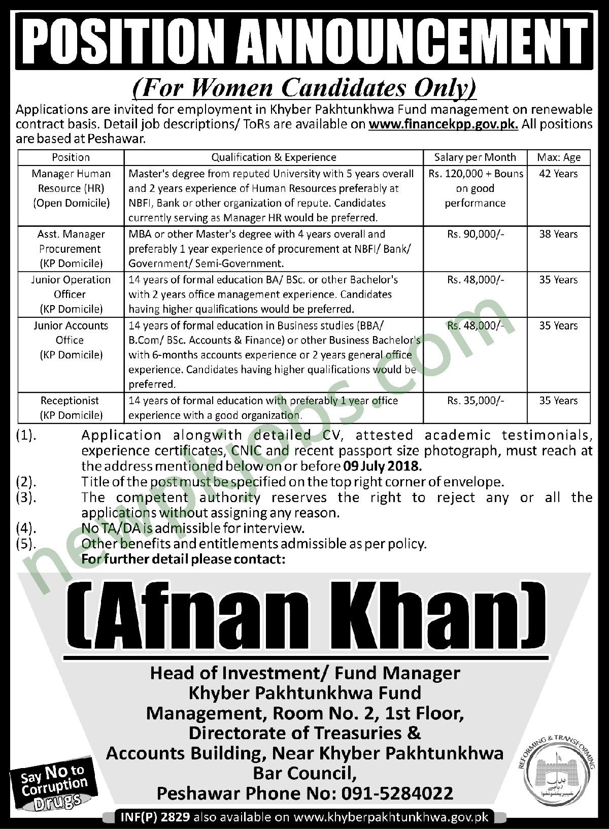 Manager Assistant Manager And Receptionist Jobs In Khyber Pakhtunkhwa Fund Management 2018 Latest Receptionist Jobs Fund Management Job