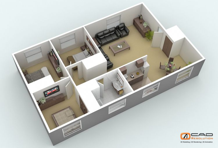 4 Bedroom House Plans 3d   Buscar Con Google