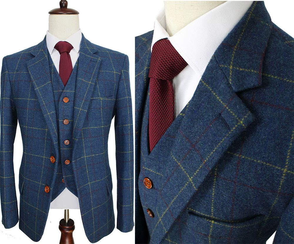 Wool-Blue-Ckeck-Tweed-Custom-Made-Men-suit-Blazers-Retro-tailor ...
