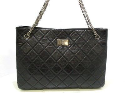 6a330cd3aef9 Auth CHANEL 2.55 A47269 Black Vintage CalfLeather Tote Bag | Women's ...