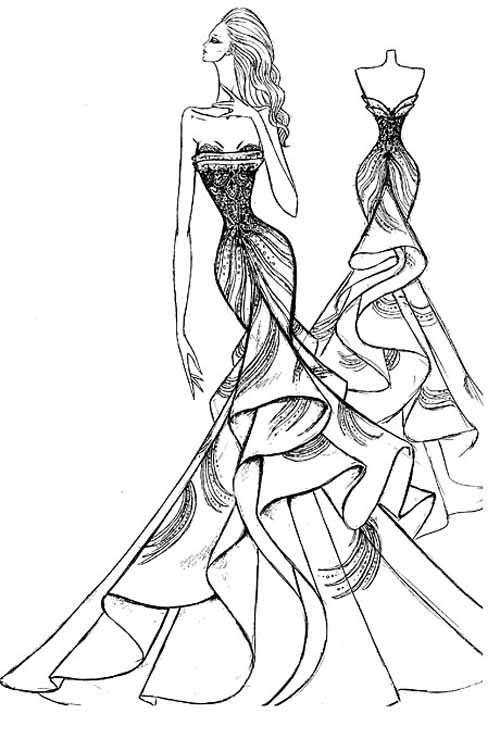 Line Art Fashion Design : Prom dress sketch draw something pinterest
