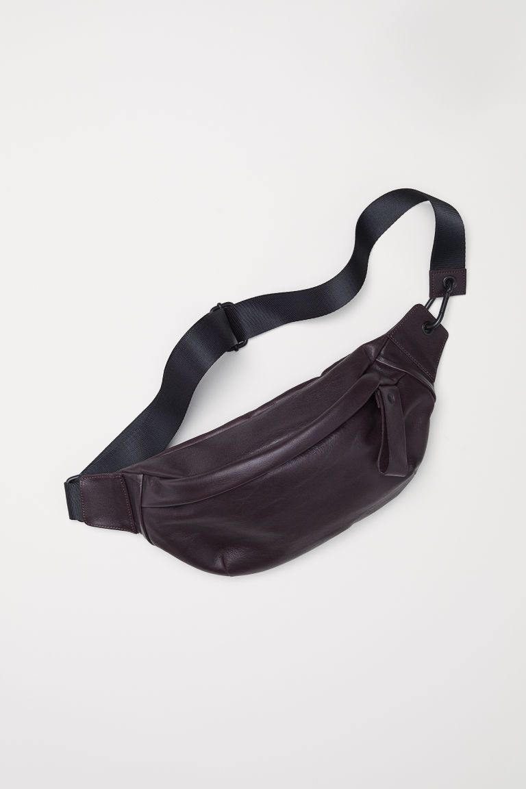 738f8fbec8 Leather waist bag - Dark plum - Men