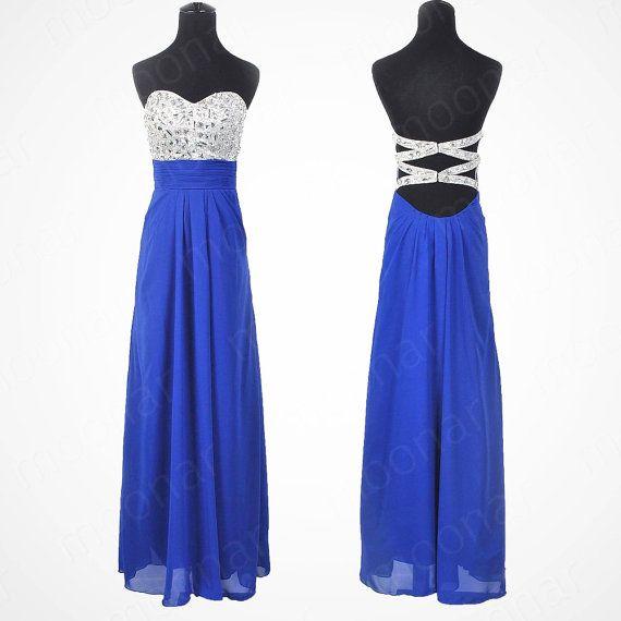 Custom Made A line Backless Blue Prom Dresses, Red Prom Dresses ...