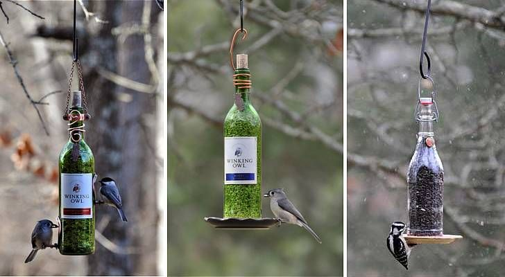 2. Wine bottle bird-feeders