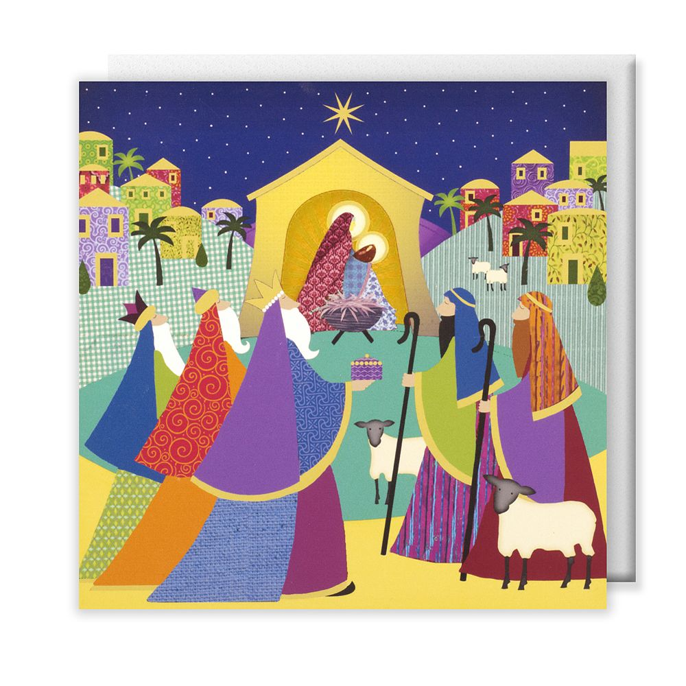 Bright nativity scene Christmas cards, pack of 10