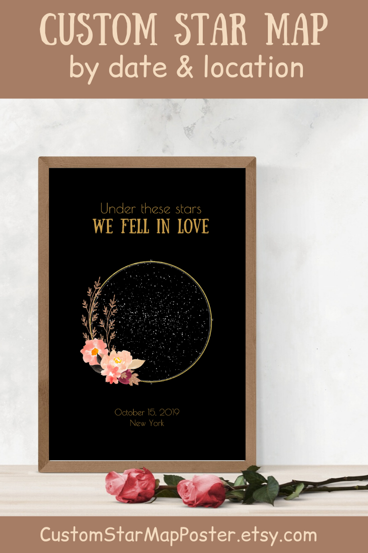 Printable Custom Star Map By Date Personalized Star Chart 1 Etsy In 2020 Personalized Anniversary Gifts Anniversary Gifts For Husband Romantic Gifts For Husband
