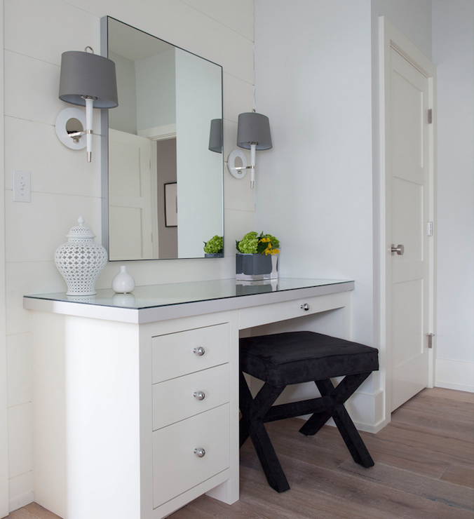 Black X Stool Transitional Bathroom, White Dressing Table With Built In Mirror