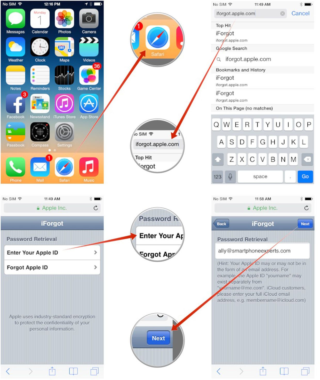 how to change email password on iphone