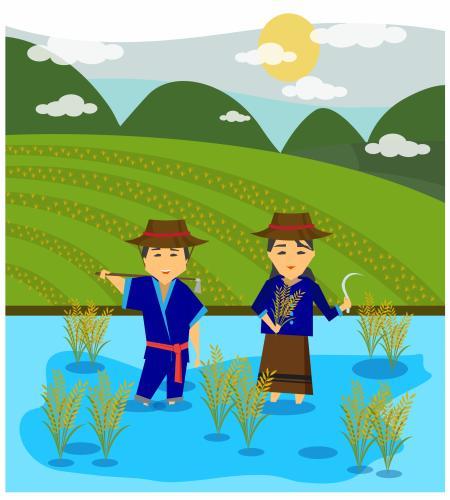 تصميم مزارع و مزارعه في الحقول رسم مميز ملف مفتوح فيكتور Flower Drawing Graphic Design Logo Cartoons Vector