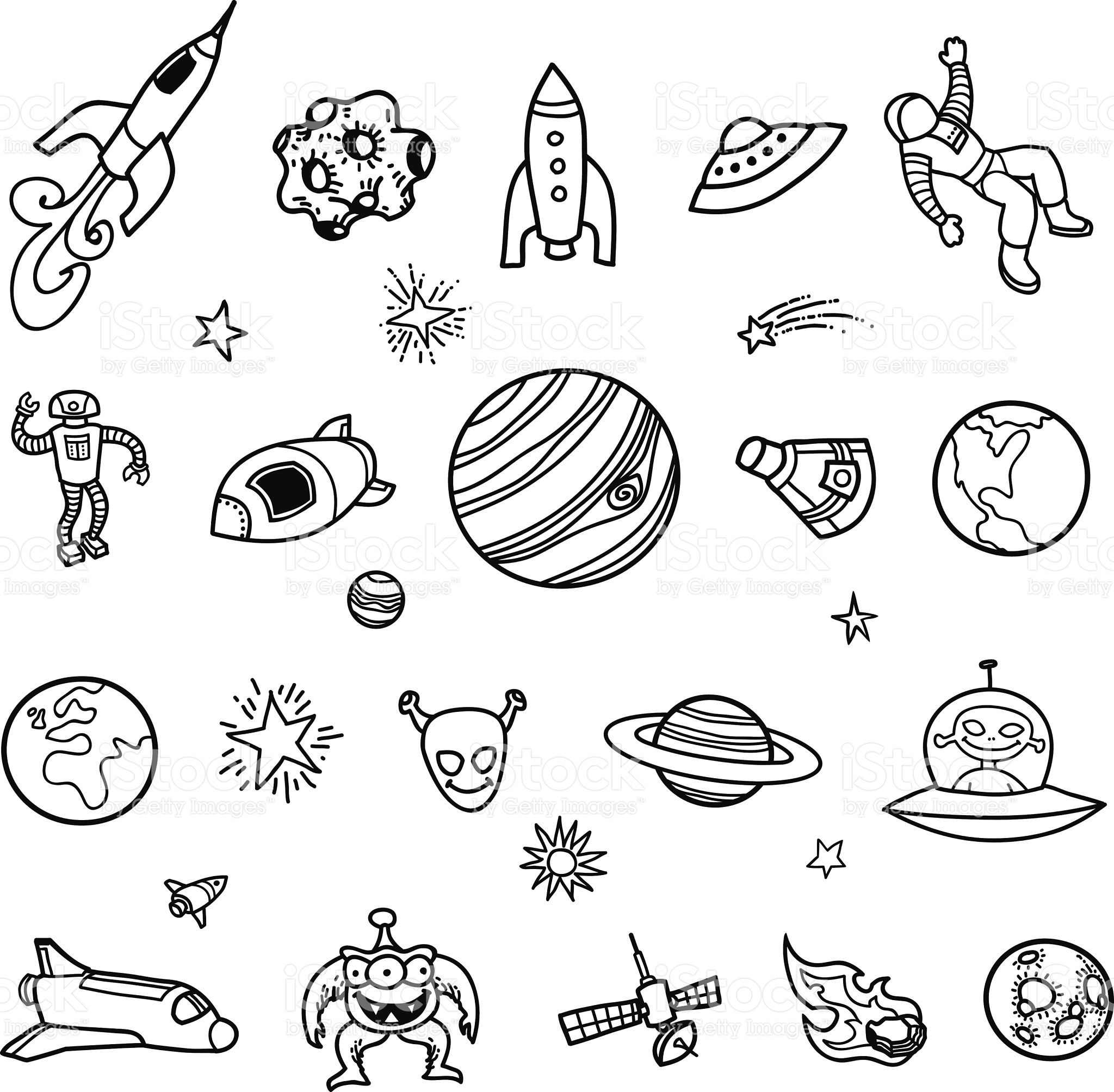 Planets And Space Hand Drawn Vector Illustration Solar ...  |Astronomy Line Drawing