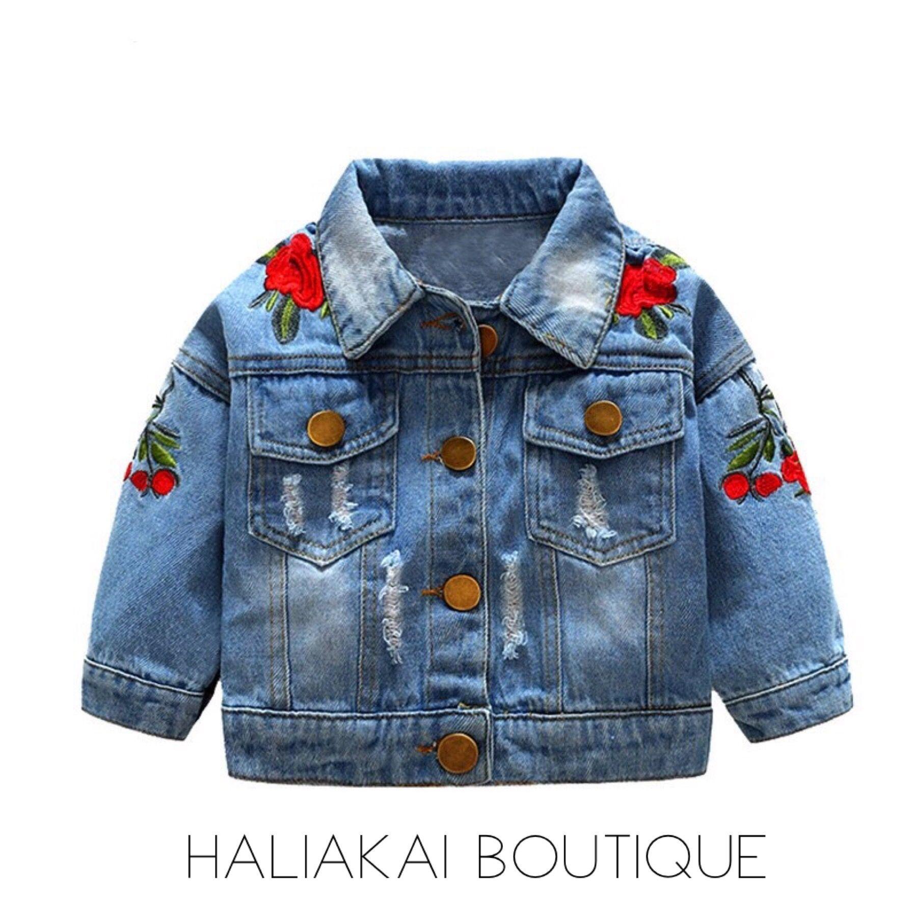 Rose Distressed Jean Jacket Girls Denim Jacket Vintage Denim Jacket Baby Denim Jacket [ 1800 x 1800 Pixel ]