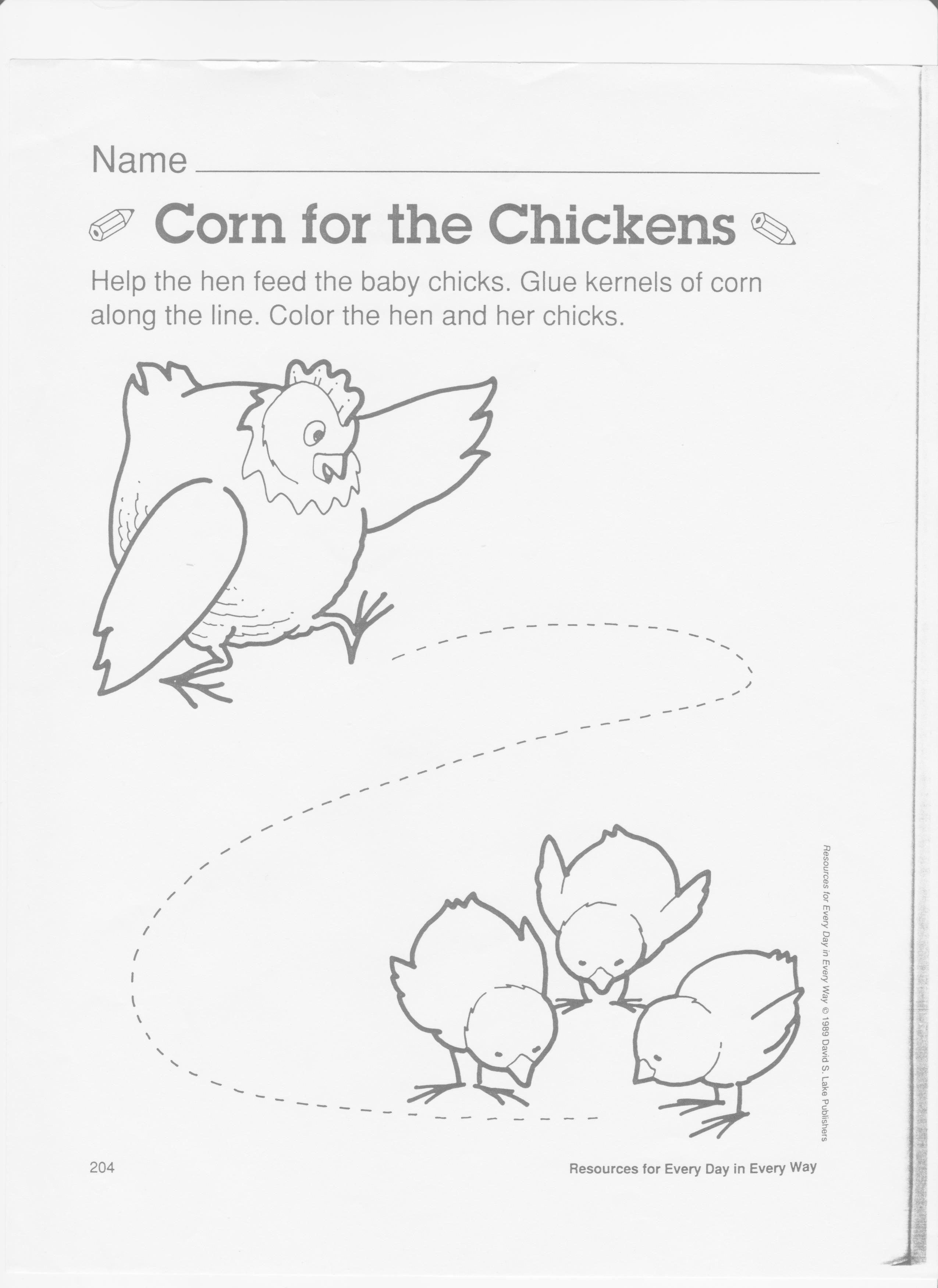 Chicken Theme Tracing Practice Corn Farm