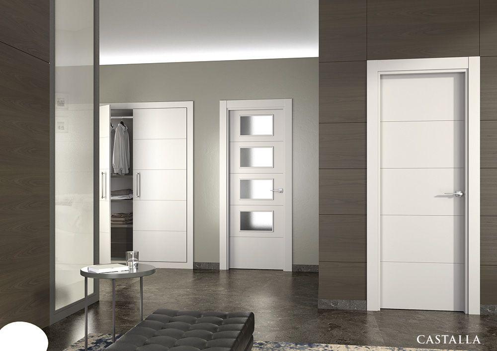 Puerta de interior blanca modelo vinci de la serie for Puertas blancas lisas interior