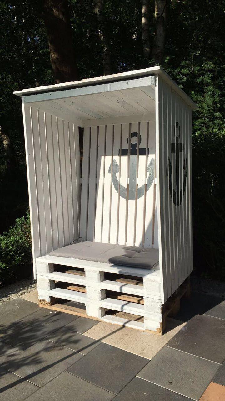 strandkorb aus paletten und latten pinterest garten strandkorb garten ideen. Black Bedroom Furniture Sets. Home Design Ideas