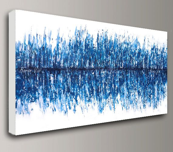 Abstract Painting Acrylic Painting Art Painting Oil Art Wall Home Office  Interior Bedroom Decor Large Canvas Modern White Blue Fine Art Visi