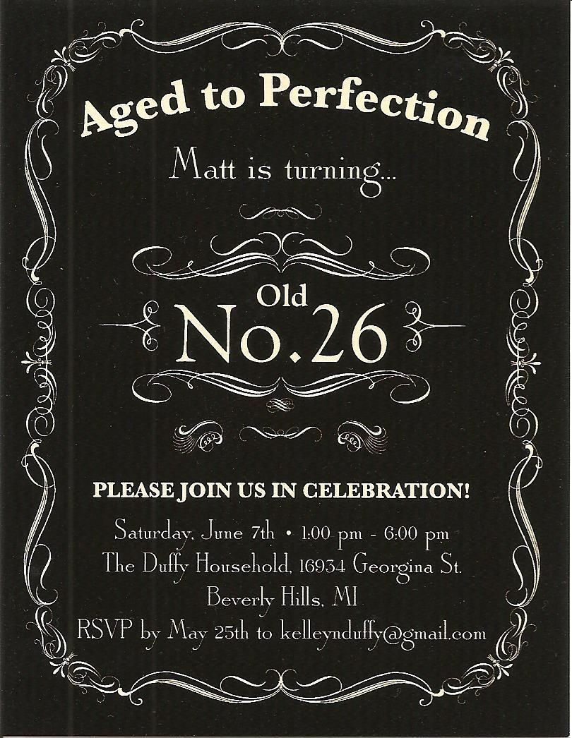 Matt\'s 26th Birthday Invitation | PARTIES Jack Daniel\'s Birthday ...