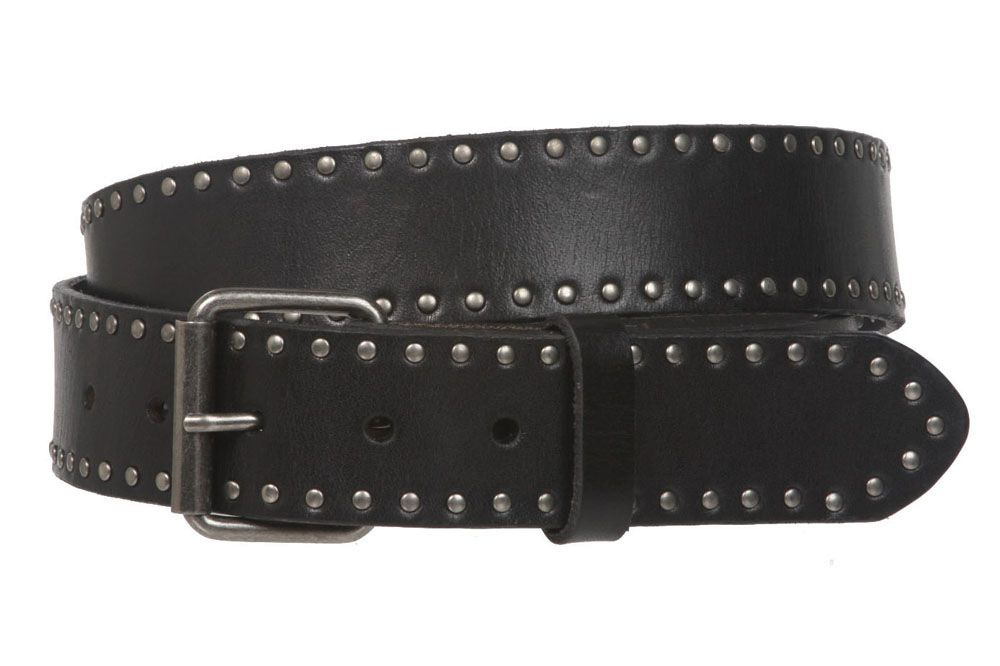 Men Solid Color Hollow Out Pin Alloy Buckle Leather Belt Width 1 1//2