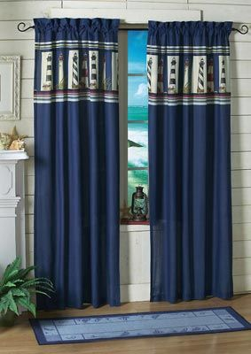 Lighthouse Drapery With Images Nautical Home Decorating
