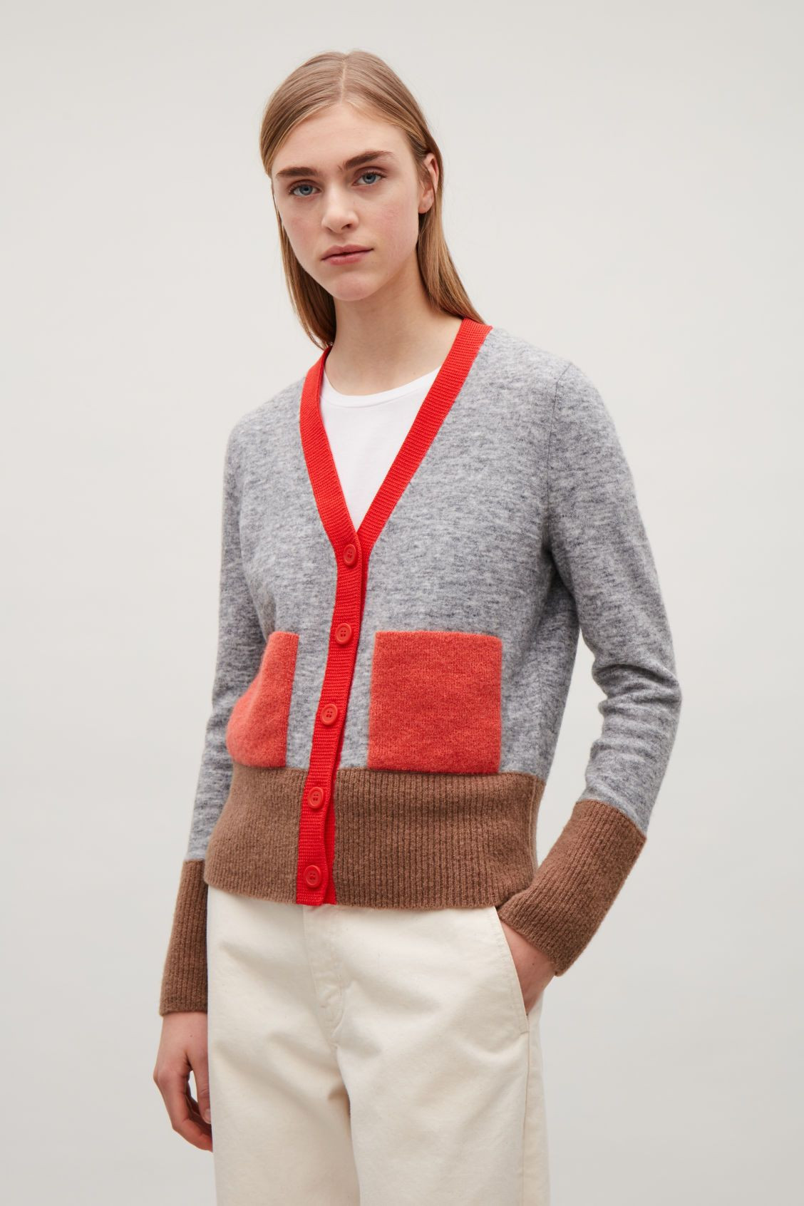 COLOUR-BLOCK CARDIGAN WITH POCKETS - Brick red - Cardigans - COS GB ... 6f1795437583