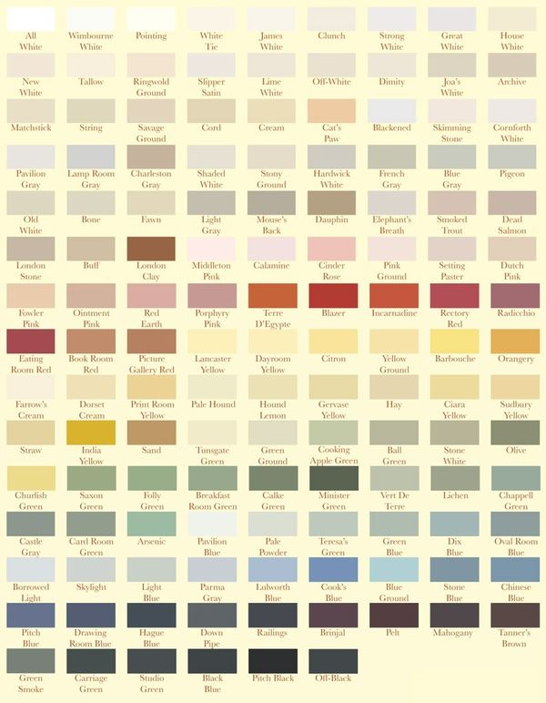 Farrow And Ball Farrow And Ball Paint Paint Color Chart House Colors