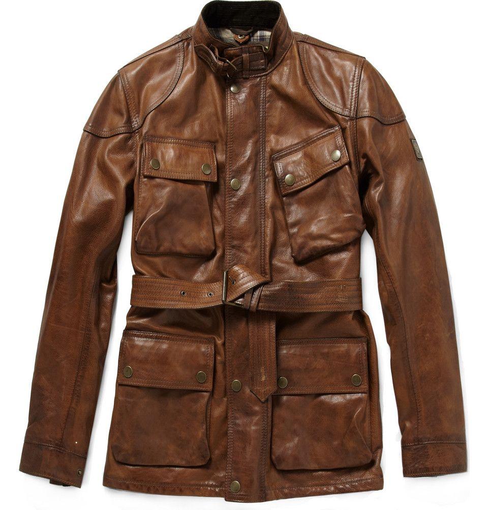 great color Distressed leather jacket, Designer leather