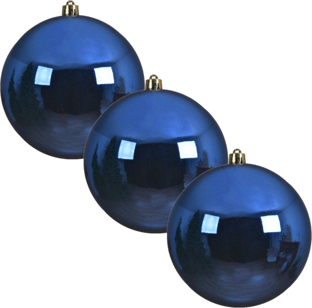 3x Grote kobalt blauwe kunststof kerstballen van 20 cm – gla…