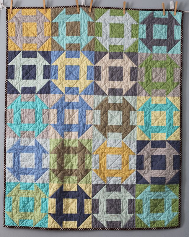 I never tire of a churn dash quilt.. love this soft solid version By Blue is Bleu