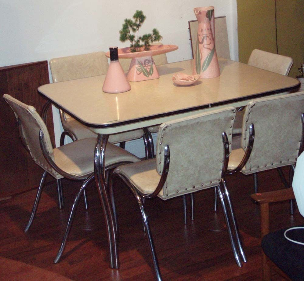 Art deco, style chrome set, 6 chairs in original