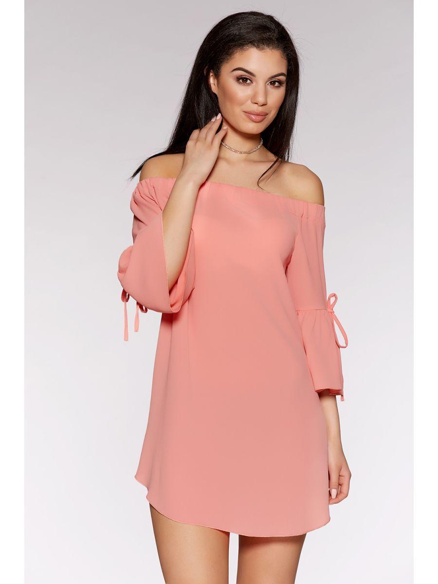 Coral Bardot Flute Sleeve Tunic Dress | More clothes | Pinterest