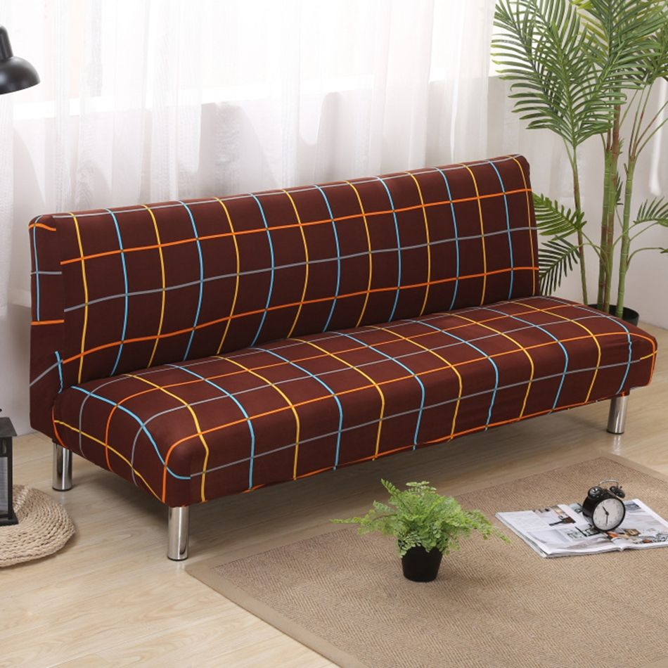 Good 21.5USD Brown Covering For Sofa Bed Universal Stretch Armless Couch Sofa  Slipcovers Removable Machine Washable