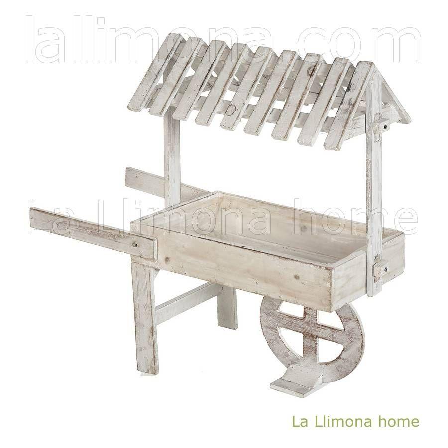 Maceta carretilla madera vintage blanca macetas y jard n for Carretillas de madera para jardin