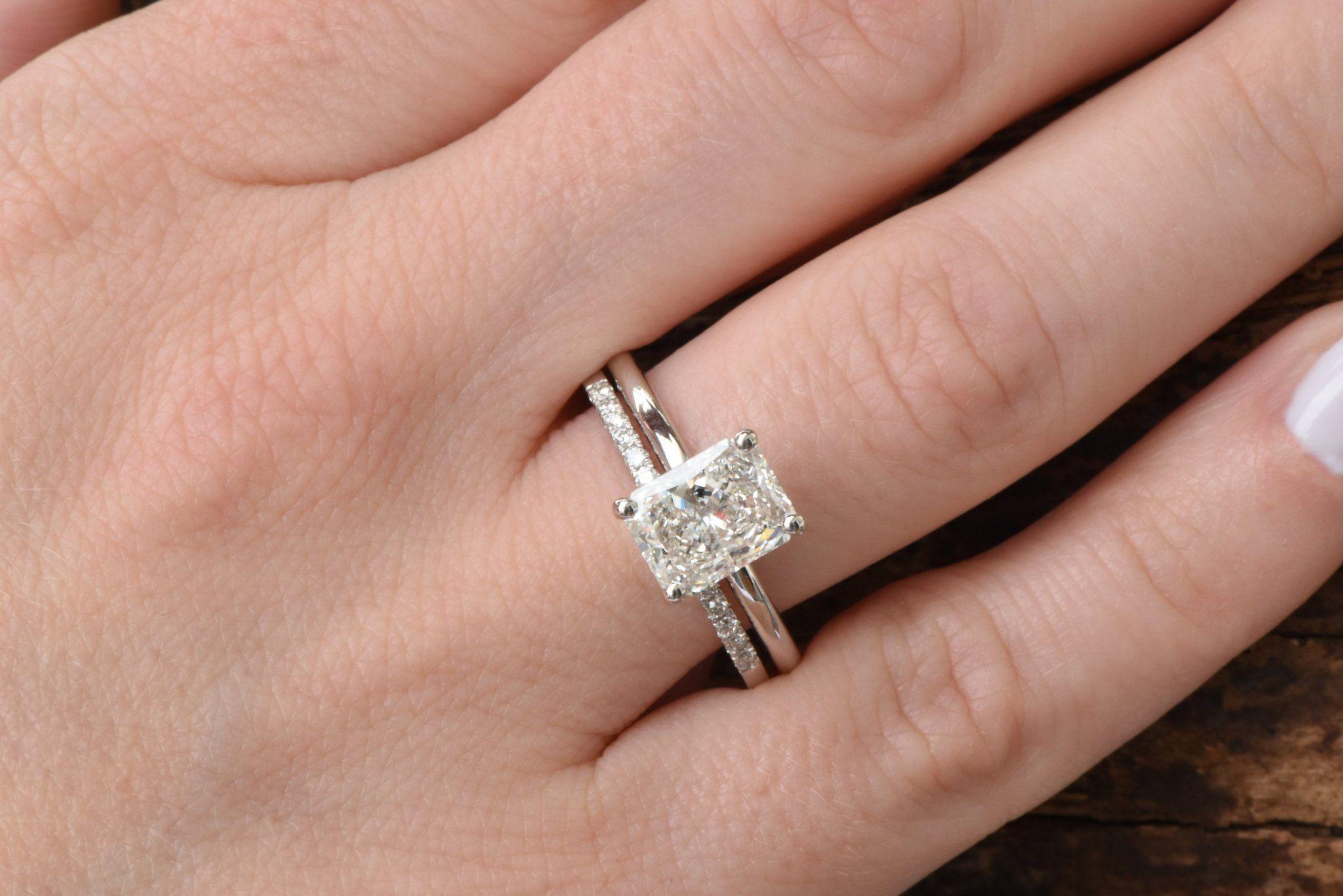 1.50Ct Emerald-Cut Diamond Halo Bridal Set Engagement Ring 14k White Gold Over