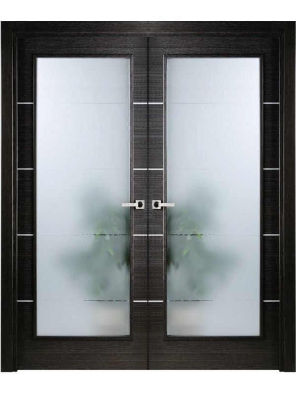 Interior Double Door Modern Interior Double Door Italian Black Apricot with Frosted Glass by Valdo