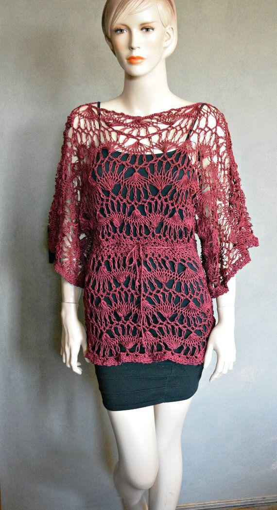 Crochet Tunic Hairpin Lace Crochet Burgandi, Crochet Sweater ...