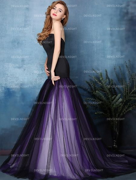 Black And Purple Mermaid Gothic Wedding Dress Devilnight Co Uk
