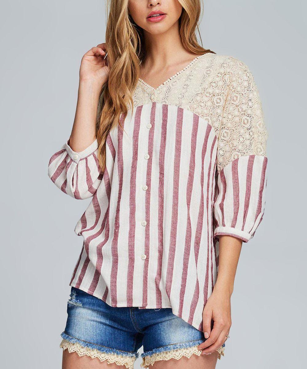 Rose & White Stripe Lace V-Neck Top