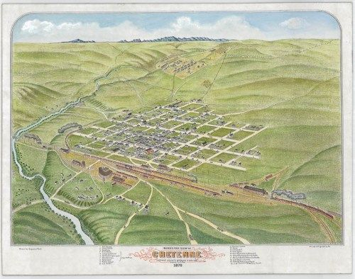1870 Birdseye view of Cheyenne. Just 3 years after it was surveyed, Cheyenne had become a thriving community.