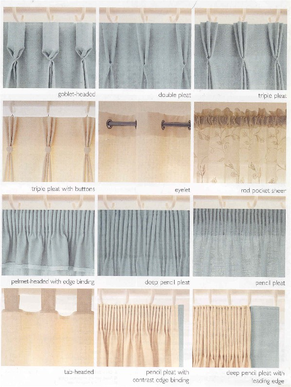 Different types of pleats that can be used to dress your window.