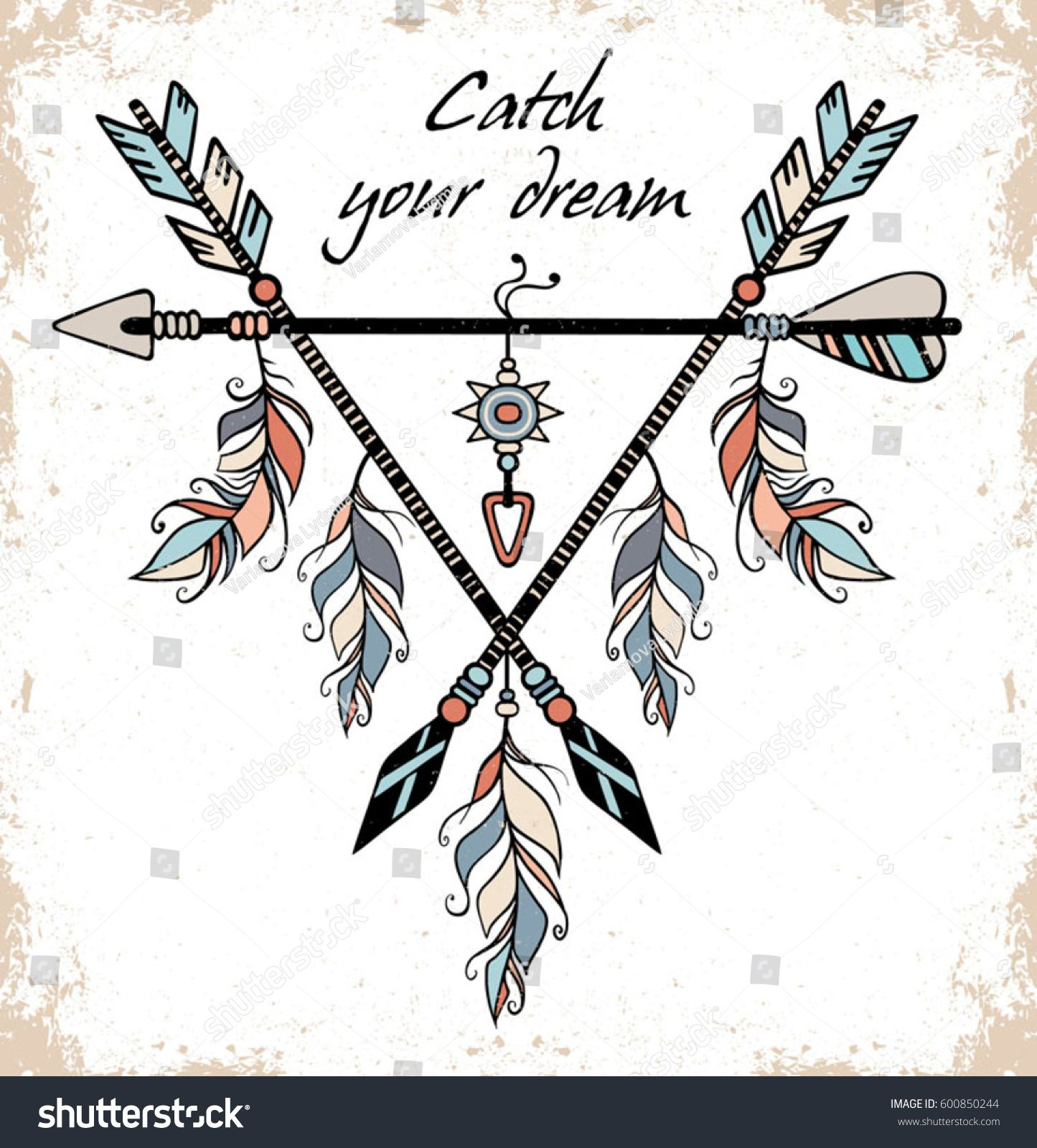 16881f1b5c547 Hand drawn illustration of dream catcher. Vector illustration with tribal  frame with ethnic arrows and feathers. American indian motifs. Boho style.