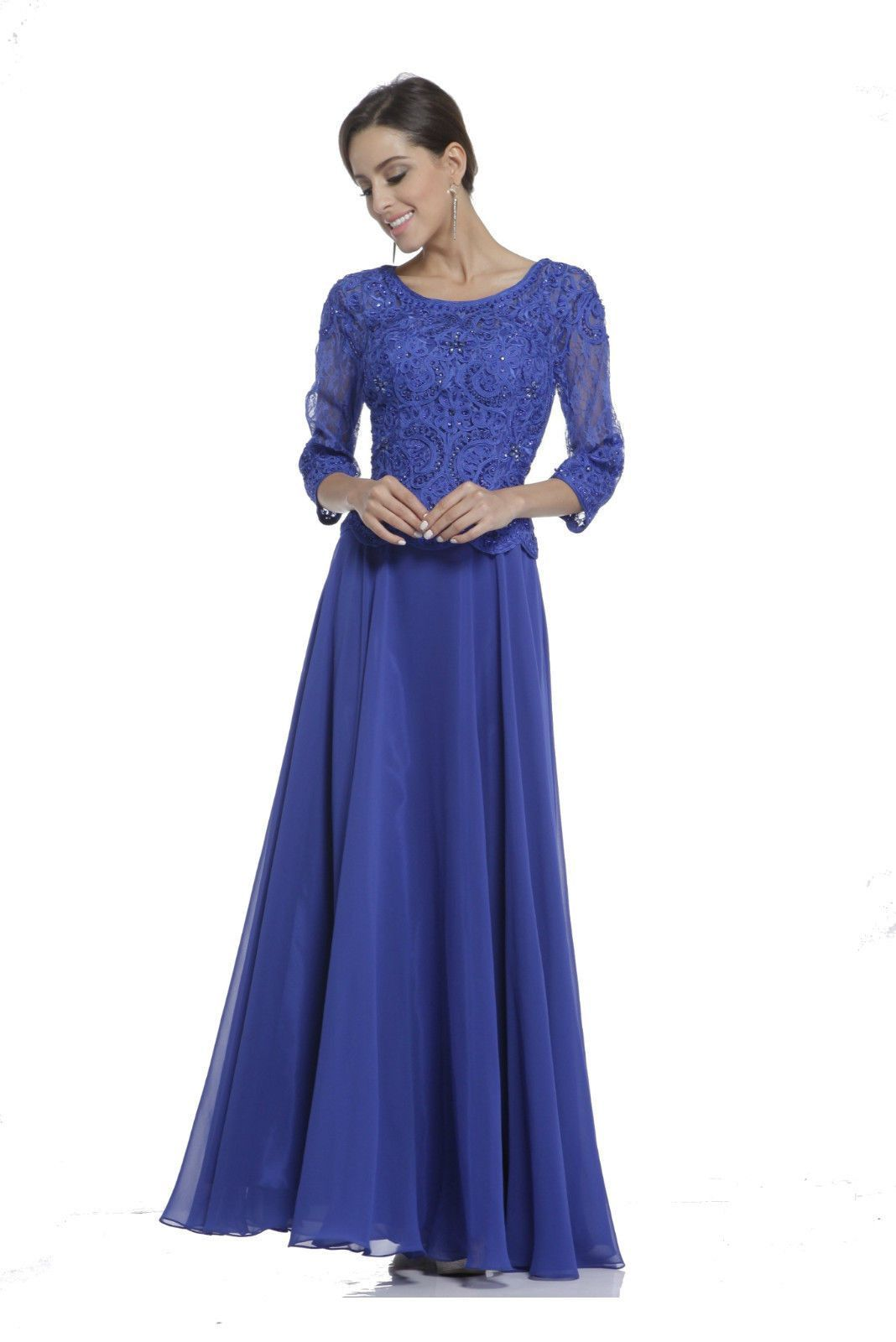 Modest mother of the bride dress plus size hijab long sleeves the