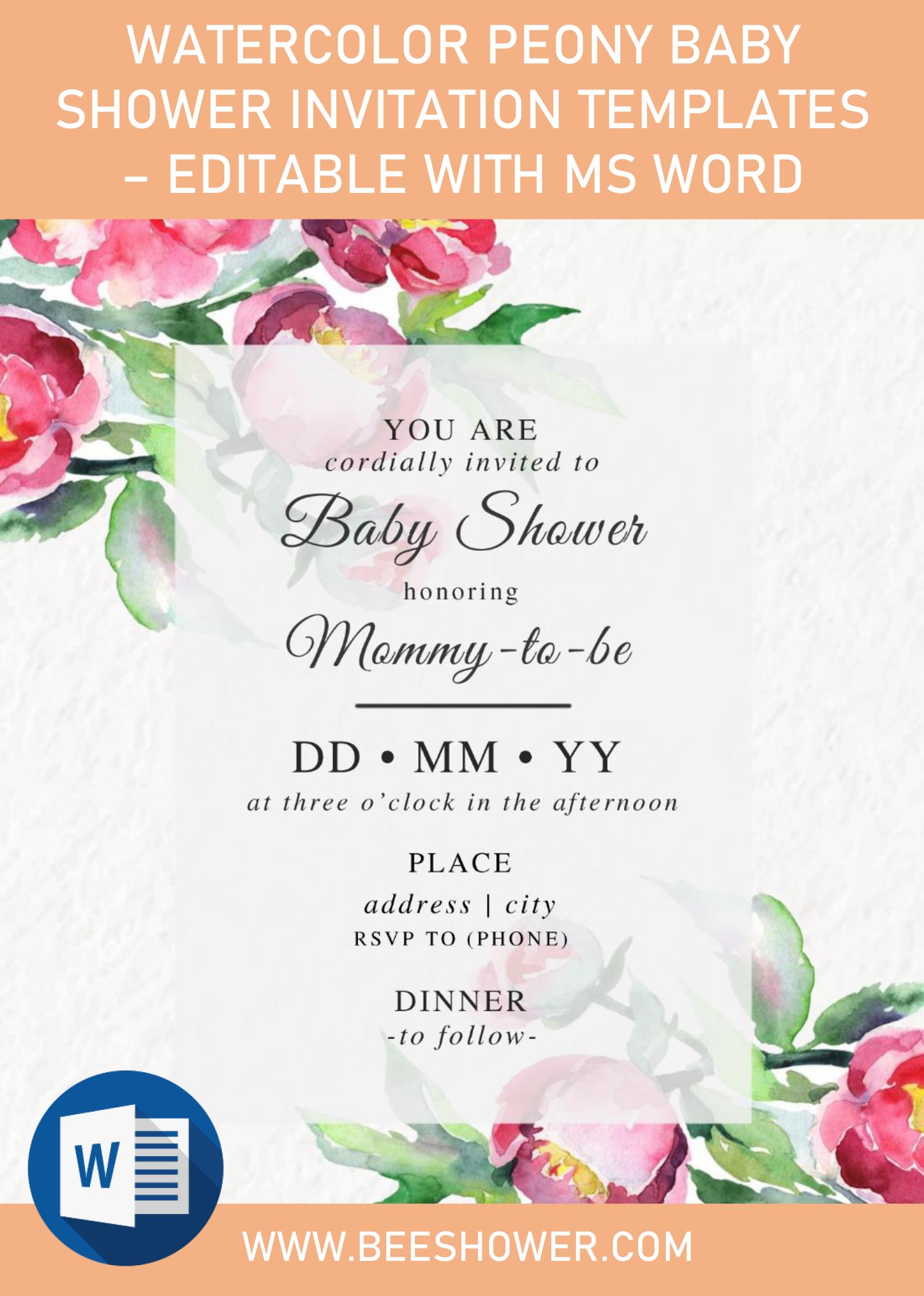 Watercolor Peony Baby Shower Invitation Templates Editable Wi Baby Shower Invitation Templates Baby Shower Invitations Free Printable Baby Shower Invitations