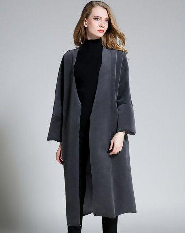 Grey Long Sleeve V Neck Front Open Long Coat