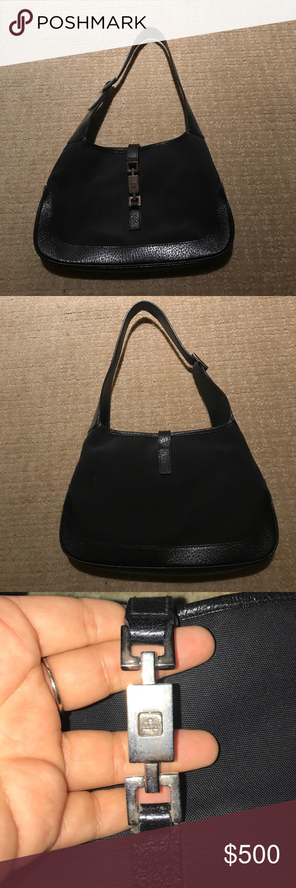a81fef5045a89d 90's Black Gucci Purse Authentic The 90's are back! This is an authentic  vintage Gucci purse from the 90's. Barely worn and in perfect condition.