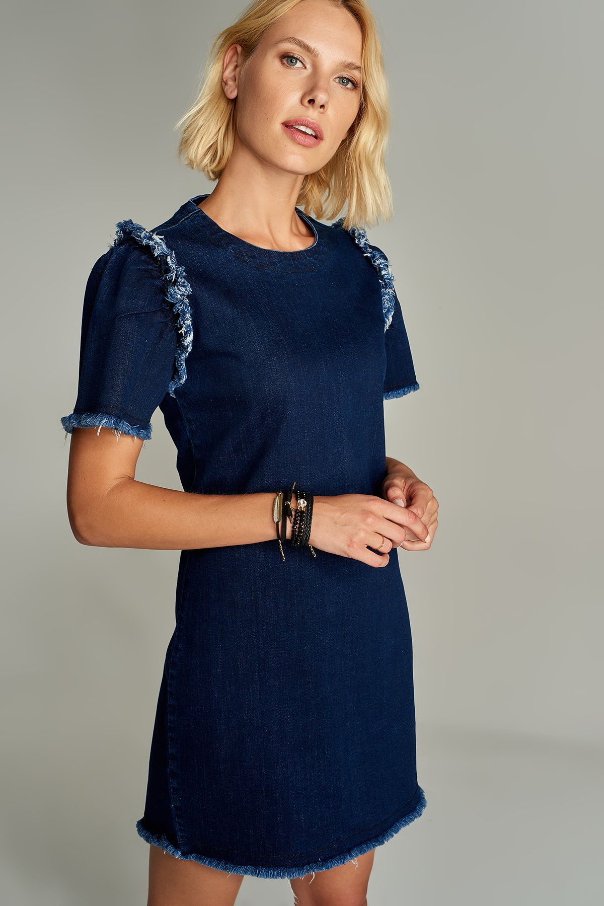 Koyu Mavi Puskul Detayli Denim Elbise Tclaw18lh0015 59 99 Tl Elbise